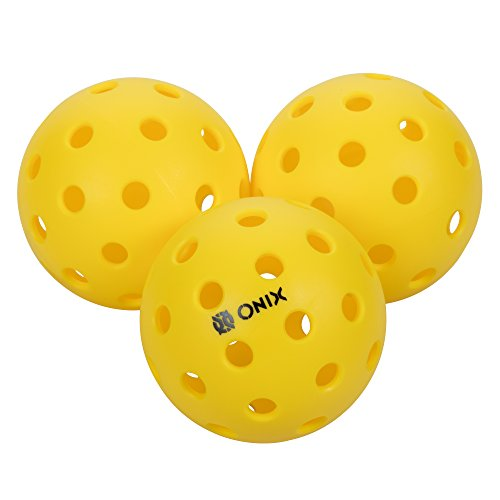 Onix Pure 2 Outdoor Pickleball Balls Weighted Heavier for Extreme Outdoor Conditions (Yellow, 3-Pack)