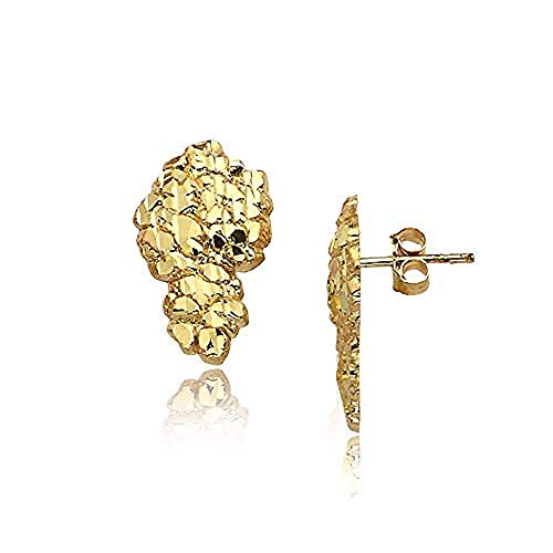 Mens 18K Yellow Gold Finish Large Nugget 925 Sterling Silver Stud Earrings (Medium Set)