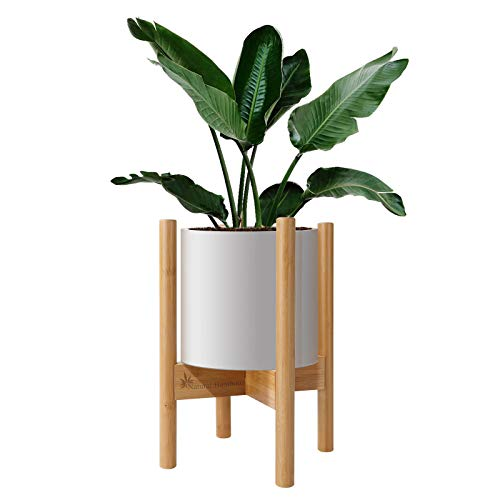 Natural Bamboo Adjustable Plant Stands Indoor, Mid-Century Planter Stand for Indoor Plants Pots from 8-12 inches, Plant Shelf Flowerpot Holder Expandable Raised Base for Plants Flowers Trees