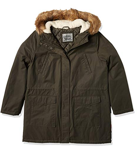 Levi's Women's Performance Sherpa Midlength Parka Jacket, Army green/poly Twill Lining, X-Small