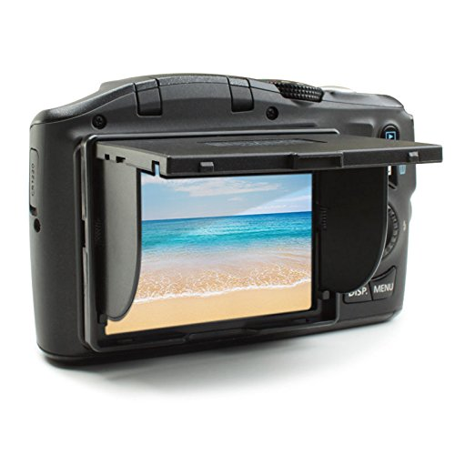 ENHANCE 3' Universal Camera Sun Shade Hood Protector LCD Lens Cover with Folding Design for Glare Elimination Works with Canon, Fujifilm, Nikon, Panasonic, Sony and More Micro 4/3 Cameras