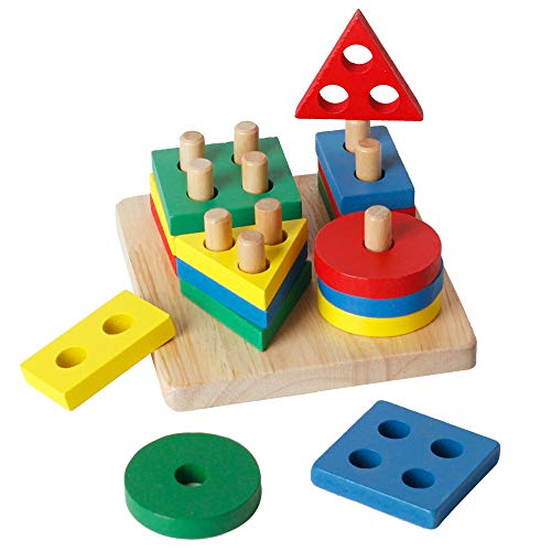 WISBABY Wooden Sorting & Stacking Toys for Toddlers, Educational Shape Color Recognition Puzzle Stacker, Early Childhood Development Puzzle Toys for 1 2 3 Year Old Boys Girls (4 Shapes)