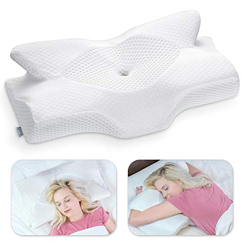 Elviros Cervical Memory Foam Pillow, Contour Pillows for Neck and Shoulder Pain, Ergonomic Orthopedic Sleeping Neck Contoured Support Pillow for Side Sleepers, Back and Stomach Sleepers