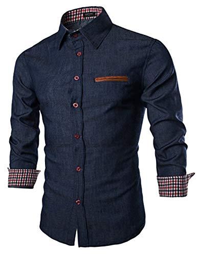 Coofandy Mens Casual Dress Shirt Button Down Shirts,Type 01 - Ultramarine Blue,Large