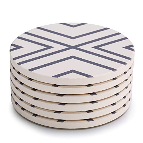 LIFVER Coasters for Drinks, Absorbent Coaster Set of 6 with Cork Base, Ceramic Drink Coasters for Cold Drinks Wine Glasses Cups Mugs, Grey-line