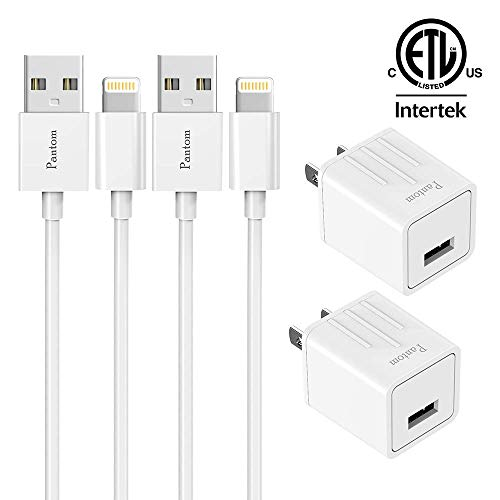 iPhone Chargers Pantom 2-Pack Wall Charger Plugs with 2-Pack 5-Feet Cables Charge Sync Compatible with iPhone 11/11 ProXr/Xs/Xs Max/8/8 Plus/7/7 Plus/6s/6s Plus/5se/5c/5 and iPads (White)