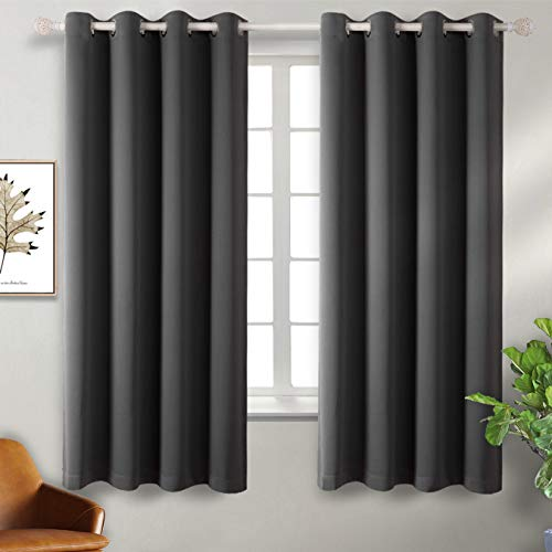 BGment Blackout Curtains - Grommet Thermal Insulated Room Darkening Bedroom and Living Room Curtain, Set of 2 Panels (52 x 63 Inch, Dark Grey)