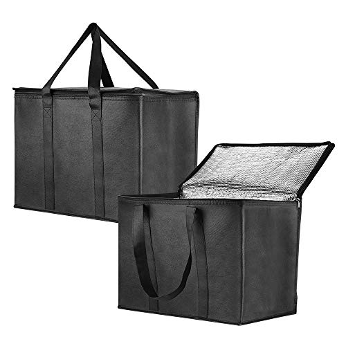 Insulated Reusable Grocery Bag for Shopping in Extra Large Size with Sturdy Zipper and Reinforced Handle, Stands Upright, Collapsible, Heavy Duty Thermal Totes - 2 Pack