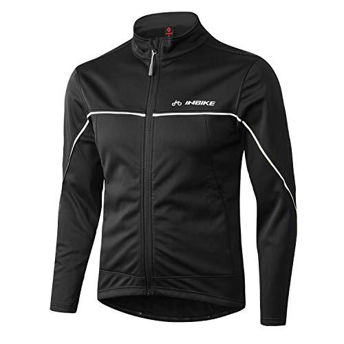 INBIKE Winter Men's Fleeced Athletic Jacket Soft Shell Coat Windbreaker Thermal Tech Clothing (XL, TJJ) Black