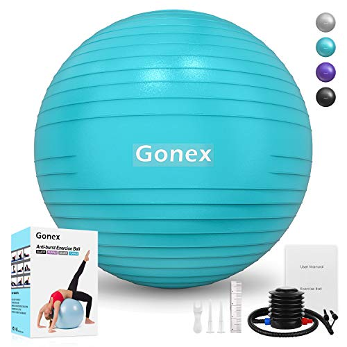 Gonex Exercise Workout Ball, 55 65 75 cm Anti-Burst & Non-Slip Stability Balance Ball for Birthing, Yoga, Pilates, Desk Chairs, Fitness, Quick Pump & Workout Guide Included, Turquoise