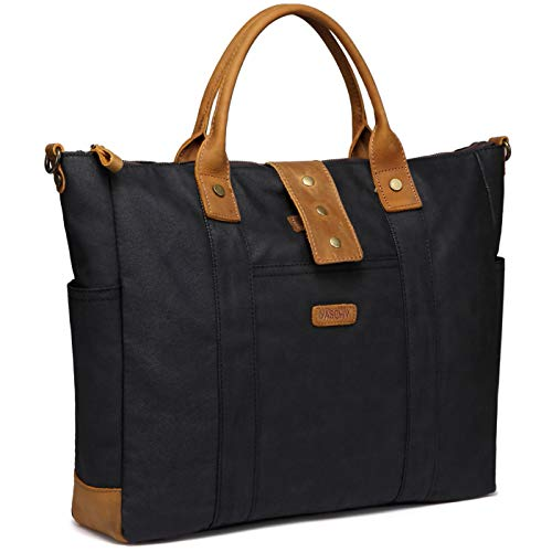 Laptop Bag for Woman, VASCHY Water Resistant Vintage Leather Waxed Canvas Laptop Tote Work Bag for Women Fits 15.6inch Laptop with Detachable Shoulder Strap
