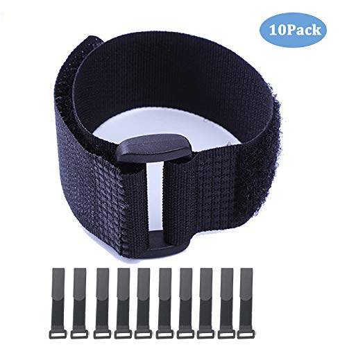 Hook and Loop Cable Straps,Black Self-Adhesive Nylon Straps Cable/Securing Straps with Buckles,Adjustable Reusable Cinch Straps, 1' x 16' Pack of 10 (1' x 16')