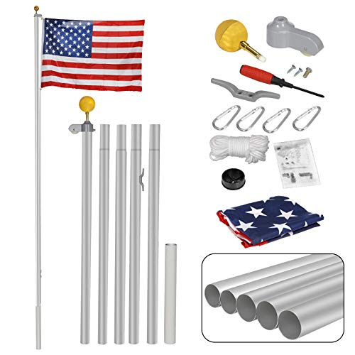 ZENY 16FT Sectional Flag Pole 3'x5' American Flag & Ball Top Kit Hardware Outdoor Garden Halyard Pole Inground Flagpole (16FT)