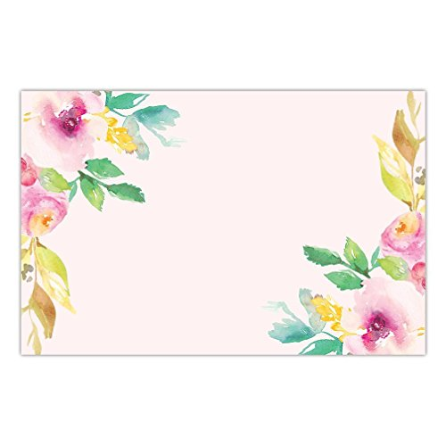 DB Party Studio Paper Placemats Floral 25 Pack Pink Watercolor Disposable Place Mats For Parties Bridal Baby Shower Birthday Event Party Decor Kitchen Table Setting Decoration 17' x 11' Placemat Set