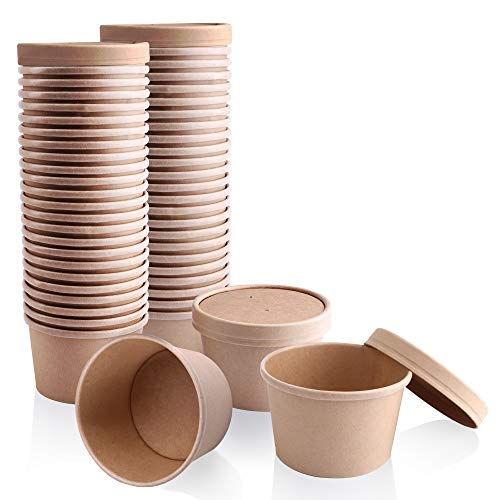 [50 Pack] 8 oz Kraft Compostable Paper Food Cup with Vented Lid - Brown Rolled Rim Storage Bucket, Hot or Cold Dish To Go Packaging, Ramen Soup Stews Salad Frozen Dessert Yogurt Ice Cream Container