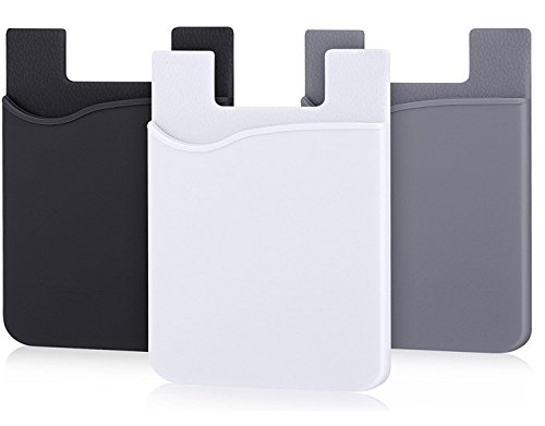 AgentWhiteUSA Cell Phone Wallet, Stick on Wallet (3 Pieces) (for Credit Card, Business Card & Id) | Compatible with Almost Every Phone | iPhone, Android & Most Smartphones