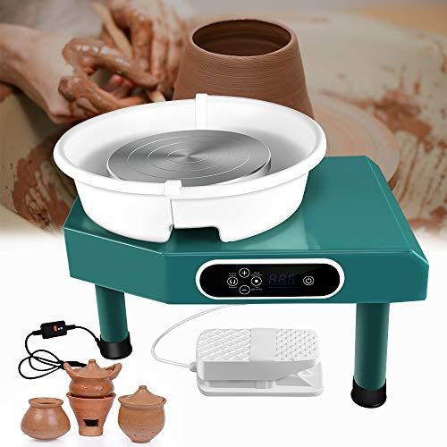Mein LAY Updated 350W LCD Pottery Wheel Machine with Removable Basin 11 Tools and Pedal for Ceramic Work Clay Art Craft (Green)