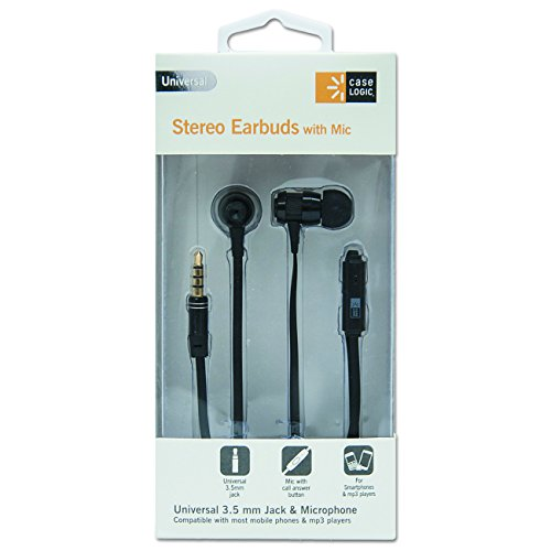Case Logic CLSTHD800 800 Series Earbuds with Microphone, 4' Cord - Black