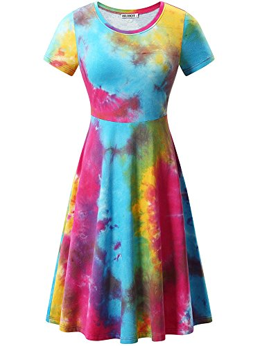 HUHOT Tie Dye Dresses, Women Floral Print Short Sleeve Midi Casual Dress(Tie Dye 1,X-Large)