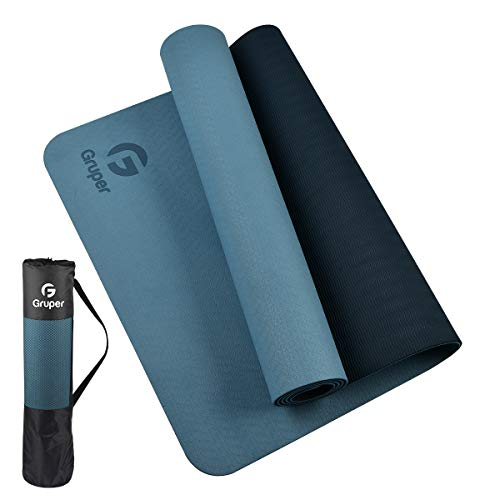 Gruper TPE Yoga Mat ,Pro Yoga Mat Eco Friendly Non Slip Fitness Exercise Mat with Carrying Strap,Workout Mat for Yoga, Pilates and Floor Exercises (Grey blue + Black, Thickness-6mm(1/4 inch))