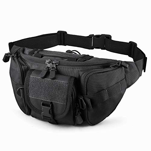 DYJ Utility Multipurpose Molle Tactical Waist Bag Hip Pack Military Fanny Pack Compact Waterproof Hip Belt Bag Pouch Hiking Climbing Outdoor Bumbag (Black)