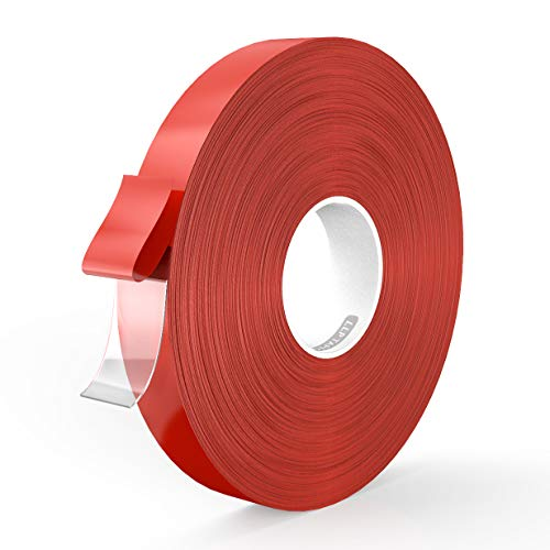 LLPT Double Sided Tape Acrylic Waterproof Residue Free Strong Mounting Tape 0.4 Inch x 108 Feet Clear(AC0400)