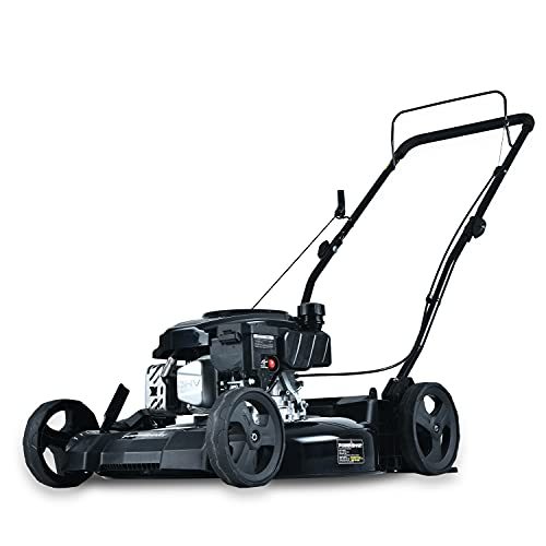 PowerSmart Lawn Mower, 21-inch & 170CC, Gas Powered Push Lawn Mower with 4-Stroke Engine, 2-in-1 Gas Mower in Color Red/Black, 5 Adjustable Heights (1.18''-3.05'' ), DB8621CR-A