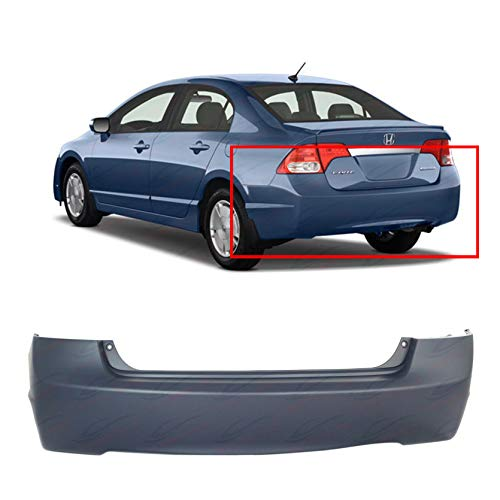 Primed Rear Bumper Cover Replacement for 2006-2011 Honda Civic Sedan 4Dr