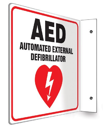 Accuform PSP721 Projection Sign 90D, Legend'AED AUTOMATED External DEFIBRILLATOR', 8' x 8' Panel, 0.10' Thick High-Impact Plastic, Red/Black on White