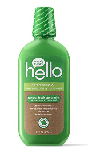 Hello Extra Freshening + Moisturizing Spearmint Mouthwash with Hemp Seed Oil + Coconut Oil, 1 Count | Alcohol Free