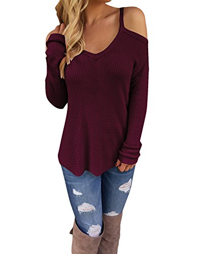STYLEWORD Women's Off Shoulder Loose Casual Knitted Pullover Sweater Shirts Tunic Top Blouse(Wine,M)
