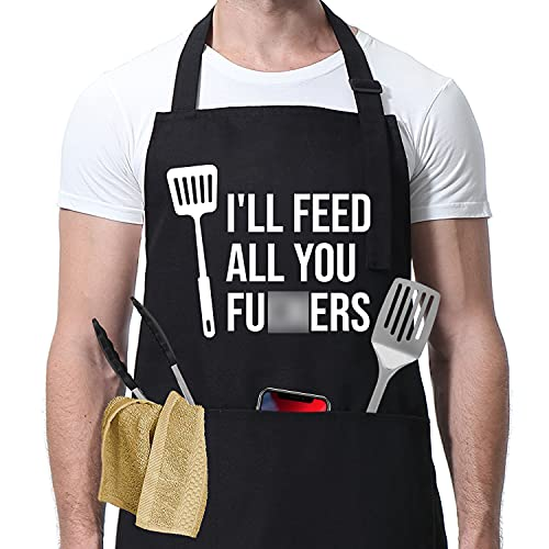 I'll Feed All You - Funny Aprons for Men, Women with 3 Pockets - Dad Gifts, Gifts for Men - Birthday Gifts for Husband, Wife, Boyfriend, Son, Friend, Father in Law - Miracu BBQ Grilling Cooking Apron
