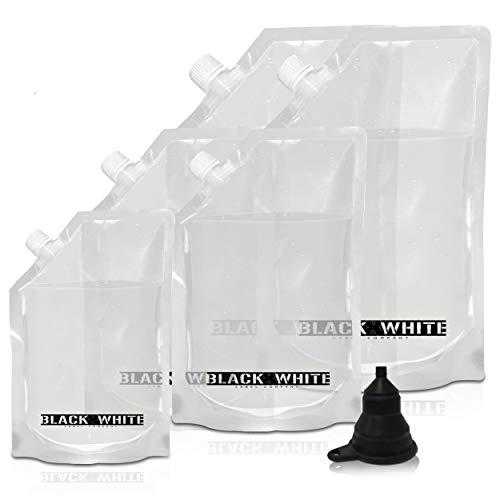 (5) Black & White Label Premium Plastic Flasks Liquor Rum Runner Flask Cruise Kit Sneak Alcohol Drink Wine Pouch Bag Set Heavy Duty Concealable Flasks For Booze (2x32oz + 2x16oz + 1x8oz + Funnel)