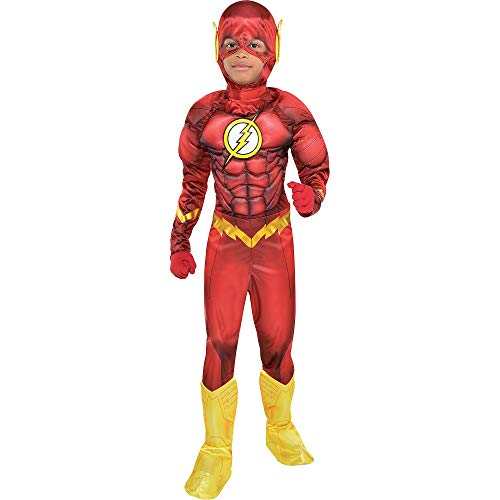 Costumes USA DC Comics: The New 52 The Flash Muscle Halloween Costume for Boys, Small, Includes Padded Jumpsuit and More
