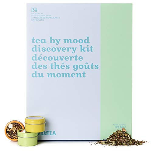 DAVIDsTEA Tea By Mood Discovery Kit Tea Sampler, Loose Leaf Tea Gift Set, Assortment of 24 Premium Teas & Infusions For Every Occasion, 197 Grams / 6.9 Ounces