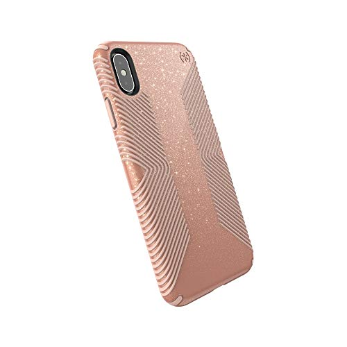 Speck Products Presidio Grip + Glitter iPhone Xs Max Case, Bella Pink with Gold Glitter/Dahlia Peach (117107-6832)