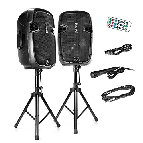 Wireless Portable PA Speaker System - 1800W High Powered Bluetooth Compatible Active + Passive Pair Outdoor Sound Speakers w/ USB SD MP3 AUX - 35mm Mount, 2 Stand, Microphone, Remote - Pyle PPHP1249KT