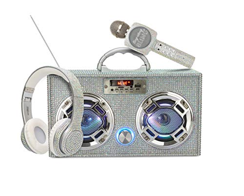Wireless Express Bling Bundle - LED Mini Boombox with Radio and Bluetooth - Karaoke Microphone and Over Ear Headphones with Bluetooth - Radio Microphone Headphones Bundle