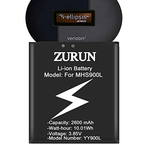 [2600mAh] MHS900L Battery Upgraded ZURUN High Capacity Replacement Battery for Franklin Wireless MHS900L / Ellipsis Jetpack MHS900L PP [2 Years Warranty]