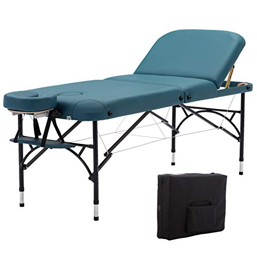 Artechworks 28' Width 3 Folding Portable Lightweight Massage Table Facial Salon Spa Tattoo Bed With Aluminium Leg for Home Office Living Room, Teal Green Color