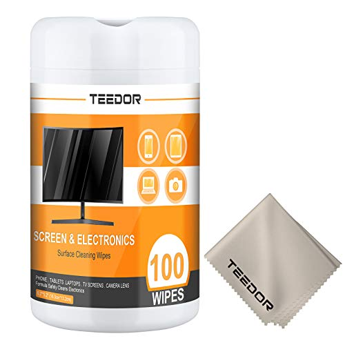 TEEDOR 100 Count Electronic Wipes Cleaning Kit, Eyeglasses, Computer, TV, Phone, Laptop and Tablet Screens Cleaner Wipes - All Electronic Equipment Lens Cleaning Wipes