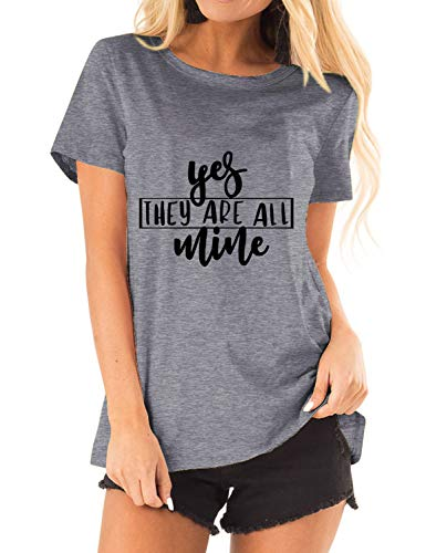 Acun Women Yes They are All Mine Letter Print Short Sleeve Grinch Tshirts for Women Tops (1-Grey,XX-Large)