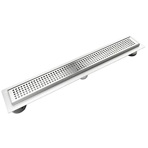 Neodrain 24 inch Rectangular linear shower drain,ideal both for hot mop and membrane sheet, brushed 304 stainless steel bathroom floor drain, compatible with tile up to 10mm thick.