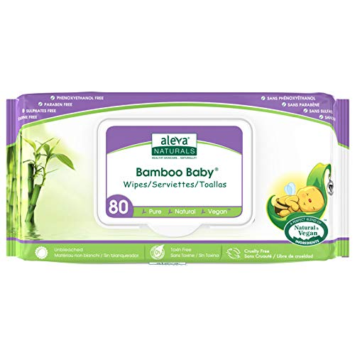 Aleva Naturals Bamboo Baby Wipes, Perfect for Sensitive Skin, Extra Strong and Super Soft, Natural and Organic Ingredients, Certified Vegan, Original, 80 Count (Pack of 6)