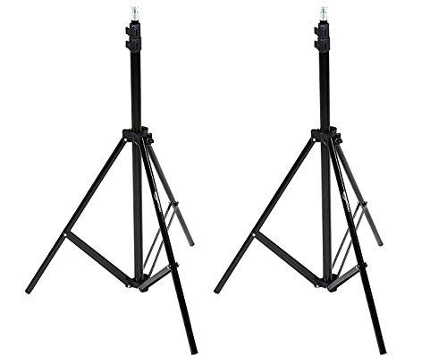 AmazonBasics Aluminum Light Photography Tripod Stand with Case - Pack of 2, 2.8 - 6.7 Feet, Black