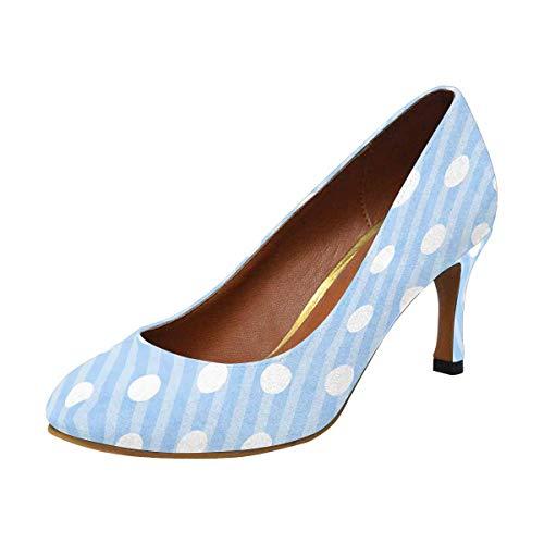 INTERESTPRINT High Heel, Formal, Wedding, Party Simple Classic Dress Pump Blue and White Polka Dot 10 B(M) US
