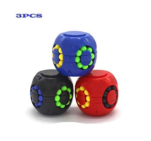 Ai-Fun 3PCS Creative Decompression Toys Magic Cube Rubik's Little Magic Beans Fingertip Gyroscope Toy Intellectual Game for Kids