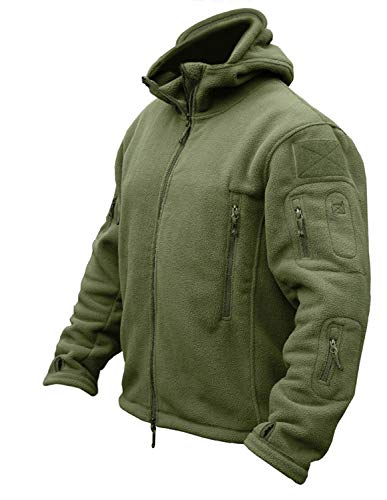 CRYSULLY Mans Army Multi-Pocket Full Zip Outerdoor Tactical Jackets Warm Hoodie Parka Jacket Green