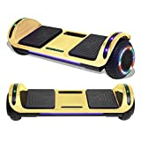 TPS 6.5' Hoverboard Electric Self Balancing Scooter with Wireless Speaker and LED Lights for Kids and Adults - UL2272 Safety Certified (Chrome Gold)