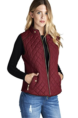 Active USA Quilted Padding Vest With Suede Piping Details Sizes from S to 3XL (Burgundy-Medium)